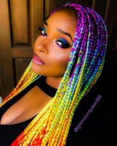 Rainbow Box Braids