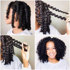 twist out sur cheveux bouclés